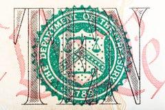 Dipartimento della stampa di Ministero del Tesoro su dieci U S Banconota in dollari Immagini Stock