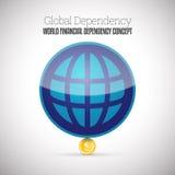 Dipendenza finanziaria del mondo Immagini Stock