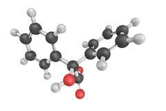 Diphenylglycolic acid, also known as Benzilic acid, a white crys Stock Photo