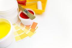 Dipinga gli strumenti e gli accessori per il rinnovamento domestico Immagini Stock Libere da Diritti