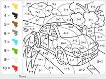 Dipinga il colore dai numeri di sottrazione e dell'aggiunta illustrazione vettoriale