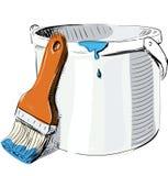 Dipinga il secchio con la spazzola Fotografia Stock