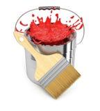 Dipinga il secchio e spazzoli Fotografia Stock