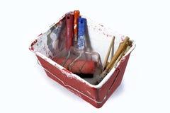 Dipinga il vassoio con la spazzola fotografia stock libera da diritti