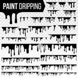 Dipinga il vettore stabilito del liquido della sgocciolatura Inchiostro astratto, spruzzata della pittura Il vario sangue schizza illustrazione di stock