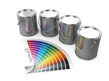 Dipinga la guida della tavolozza di colore e delle latte isolata su fondo bianco Fotografia Stock