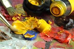Dipinga la tavolozza Fotografie Stock