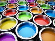 Dipinga la tavolozza di colore delle latte Fotografia Stock