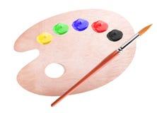 Dipinga la tavolozza e spazzoli Immagine Stock Libera da Diritti