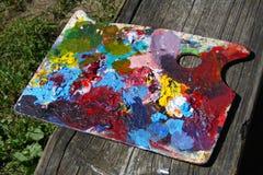 Dipinga la tavolozza sulla ferrovia Fotografie Stock