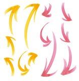 Dipinga le frecce tirate messe Elemento di disegno Immagini Stock Libere da Diritti