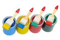 Dipinga le latte con la spazzola Immagine Stock Libera da Diritti