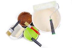 Dipinga le latte ed il pennello Fotografie Stock