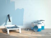 Dipinga le latte vicino alle pareti blu-chiaro, 2 latte sono aperti, 1 è chiuso, rappresentazione 3d Immagini Stock Libere da Diritti