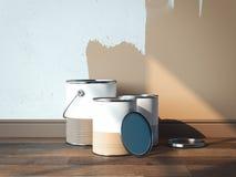 Dipinga le latte vicino alle pareti marrone chiaro, 2 latte sono aperti, 1 è chiuso, rappresentazione 3d Fotografia Stock Libera da Diritti