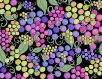 Dipinto a mano artistico del vino della vigna dell'uva su un fondo nero Fotografia Stock