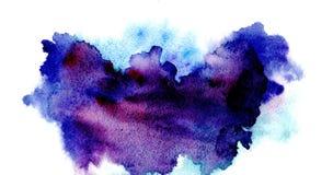 Dipinto a mano blu viola porpora dell'acquerello della spruzzata isolato su fondo bianco illustrazione vettoriale