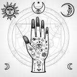 Dipinto a mano umano con i simboli magici Cerchio Alchemical delle trasformazioni illustrazione di stock