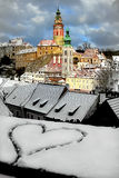 Dipinto sulla neve nel vecchio cuore della città Giorno del `s del biglietto di S Fotografia Stock