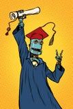 Diplômé d'étudiant de robot d'une université ou d'une université illustration de vecteur