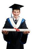 Diplômé heureux avec le diplôme Image stock