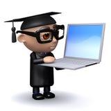 diplômé 3d avec l'ordinateur portable Photo libre de droits