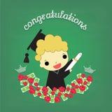 Diplômé de garçon avec la fleur et l'argent à bord Photos stock