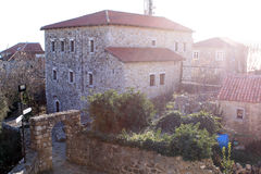 Diplômé de Stari près de vue de Mer Adriatique (Monténégro, Ulcinj, hiver) Photographie stock libre de droits