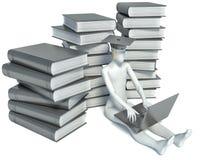 diplômé et ordinateur portable du mâle 3D sur le fond blanc Images stock