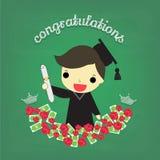 Diplômé futé de garçon avec la fleur et l'argent à bord Photo libre de droits