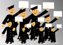 Diplômés avec le diplôme à disposition Images libres de droits