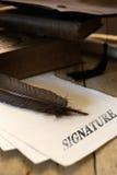 Diplôme avec la signature des textes image libre de droits