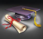 Diplo de la tarjeta del mortero de la educación de la universidad de la graduación Imagen de archivo