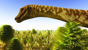 Diplodoc the dinosaur. Prehistoric landscape with big diplodoc Stock Image