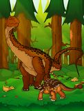 Diplodocus και ankylosaurus στο υπόβαθρο του δάσους Στοκ Εικόνα