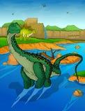 Diplodocus auf dem Flusshintergrund
