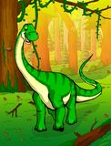 Diplodocus on the background of forest. Vector illustration Stock Images