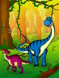 Diplodocus on the background of forest. Vector illustration Royalty Free Stock Photo