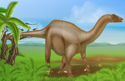 Diplodocus dinosaur. An illustration of a Diplodocus dinosaur from the sauropod family like brachiosaurus and other long neck dinosaurs in a background scene Stock Photo