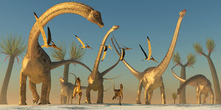 Diplodocus Dinosaur Journey Stock Images
