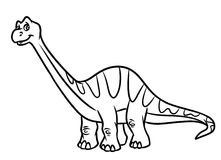 Diplodocus dinosaur Jurassic period coloring pages Royalty Free Stock Images