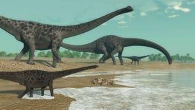 Diplodocus dinosaurs herd - 3D render Stock Photo