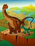 Diplodocus en roofvogel met landschapsachtergrond vector illustratie