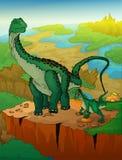 Diplodocus en roofvogel met landschapsachtergrond stock illustratie
