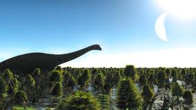 Diplodocus enorme in zona umida, illustrazione 3d Immagini Stock