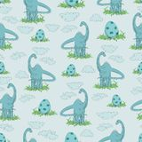 DIPLODOCUS. Herbivorous dinosaur and egg in a grass. Seamless pattern. Hand-drawn dinosaur. Animal vector illustration. Design for children`s textiles Stock Photo