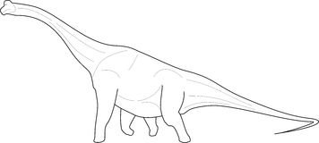 Diplodocus line-art Royalty Free Stock Photo