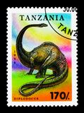 Diplodocus, Prehistoric animals serie, circa 1994. MOSCOW, RUSSIA - JANUARY 2, 2018: A stamp printed in Tanzania shows Diplodocus, Prehistoric animals serie Stock Photography