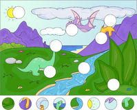 Diplodocus and a pterodactyl on the background of volcanos:  Stock Photos