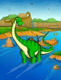 Diplodocus on the river background. Vector illustration Stock Image